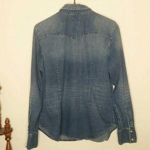 GAP Tops - Pearl snap denim shirt, chambray XL